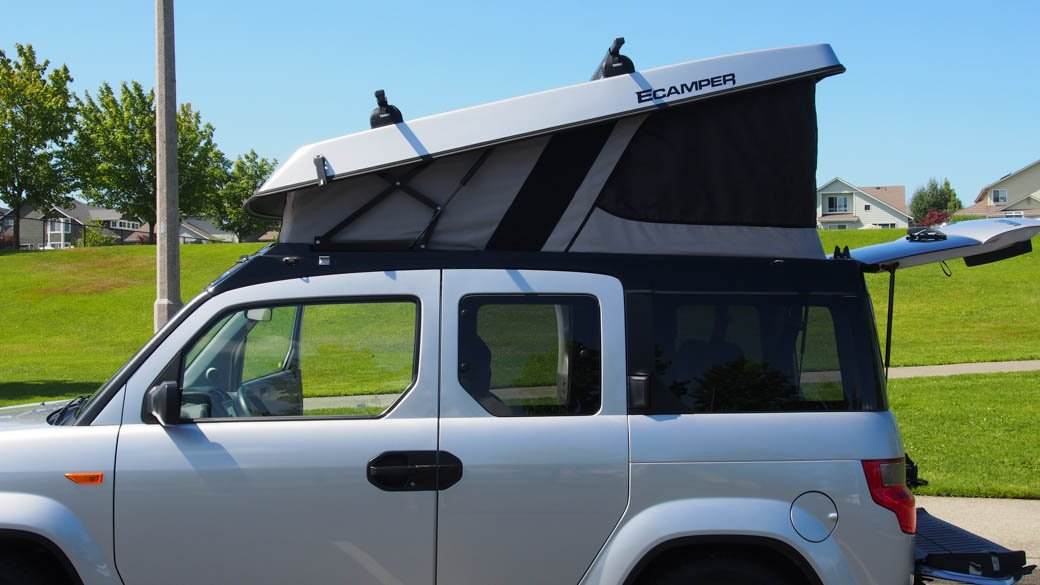 2010 2011 Ultimate Outdoor Silver Honda element ecamper rooftent tent camping camp extended space microcamper vanlife