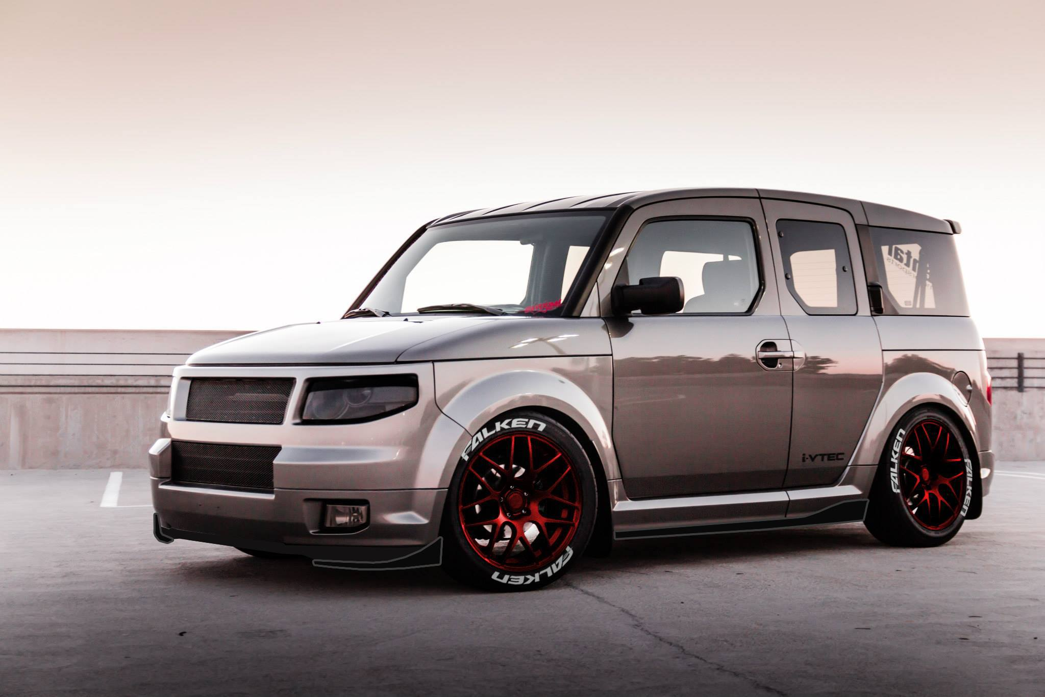 2010 2011 silver honda element lowered red rims