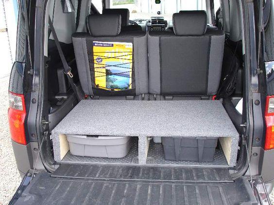 Black honda element extra storage rear compartment