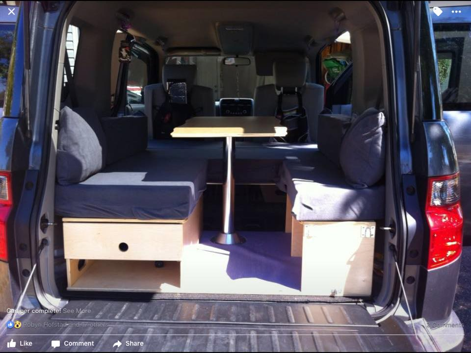 Honda Element Mobile Office Car Camping Table Couch Setup