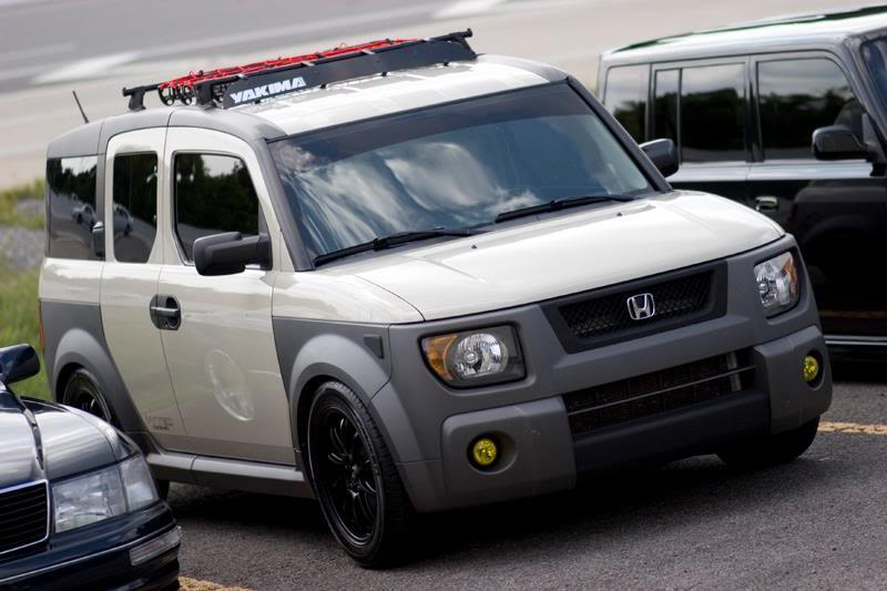 2005 honda element khaki color lowered slammed blacked out headlights yellow fog lights black grill wheels rims yakima roof rack windshield banner dark tints