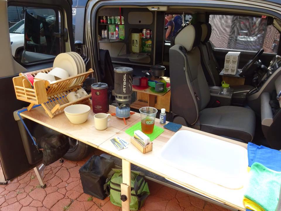 honda element fifth element camping kitchenette kitchen wash dishes camp