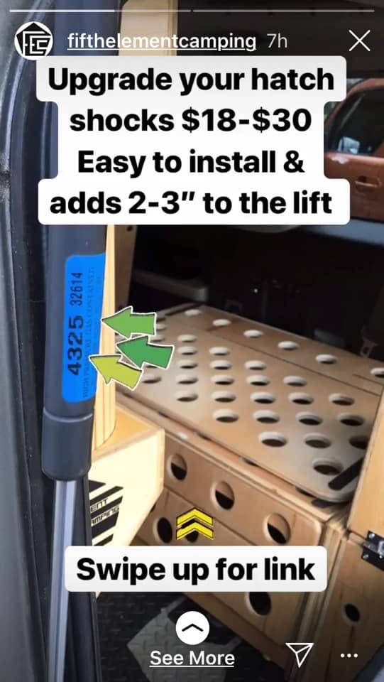 fifth element camping honda element hatch shocks upgrade