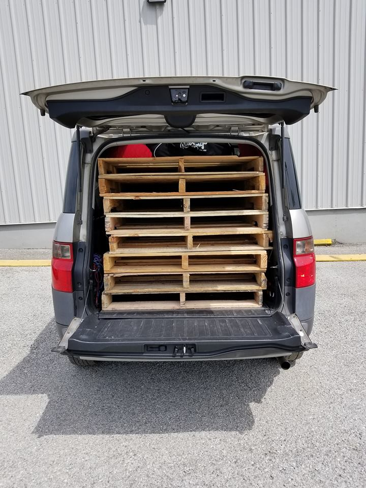 Honda Element Interior 8 eight shipping pallets fit inside the Cargo Area 2