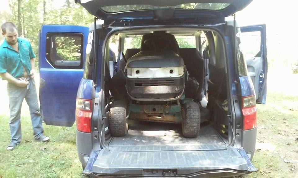 Honda Element Interior Dimensions Cargo Area Space Full sized craftsman lawn mower