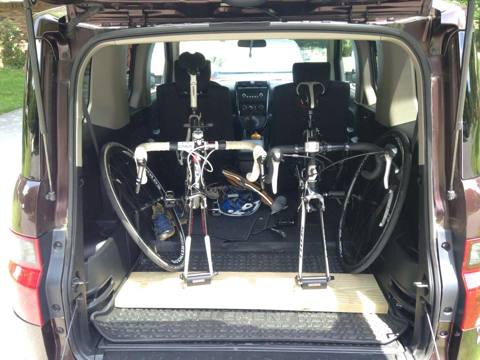 Honda Element Interior Dimensions Cargo Area Space two road bikes installed with shamano quick release