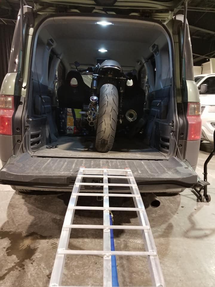 Honda Element Interior Dimensions cargo area space with motorcycle inside ramps