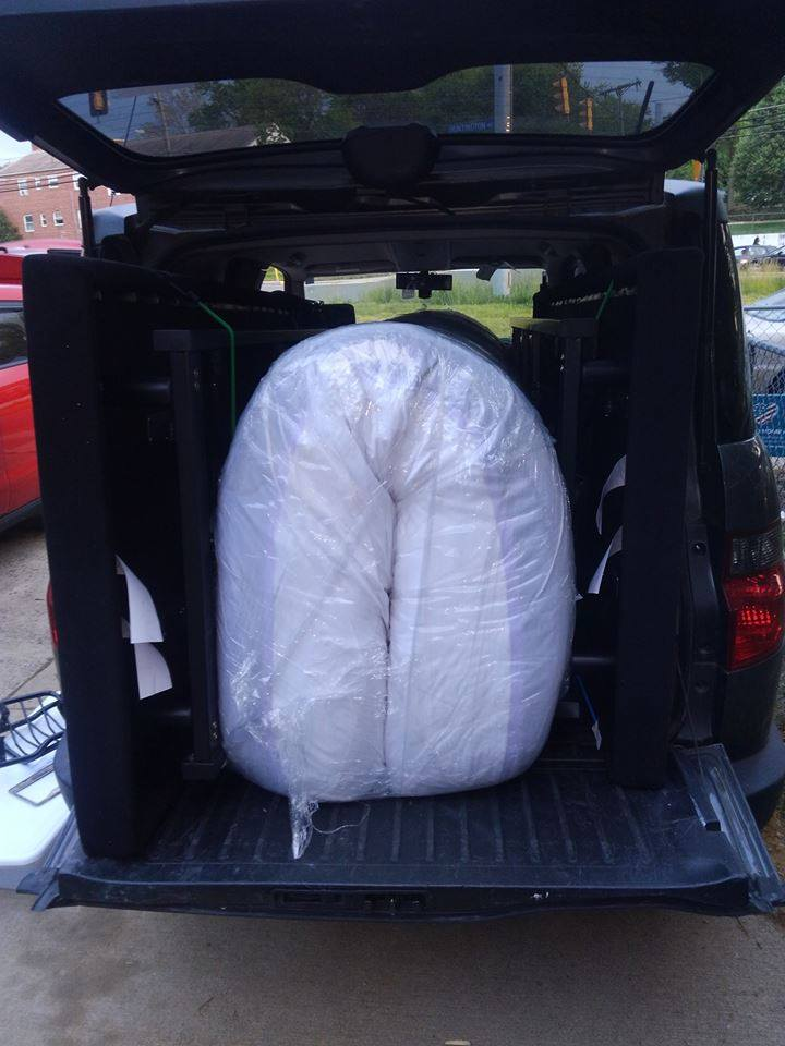 Honda Element Interior King Matress and Bed Frame can fit inside the Cargo Area 2