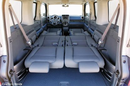 honda element interior configuration all seats folded down in bed position