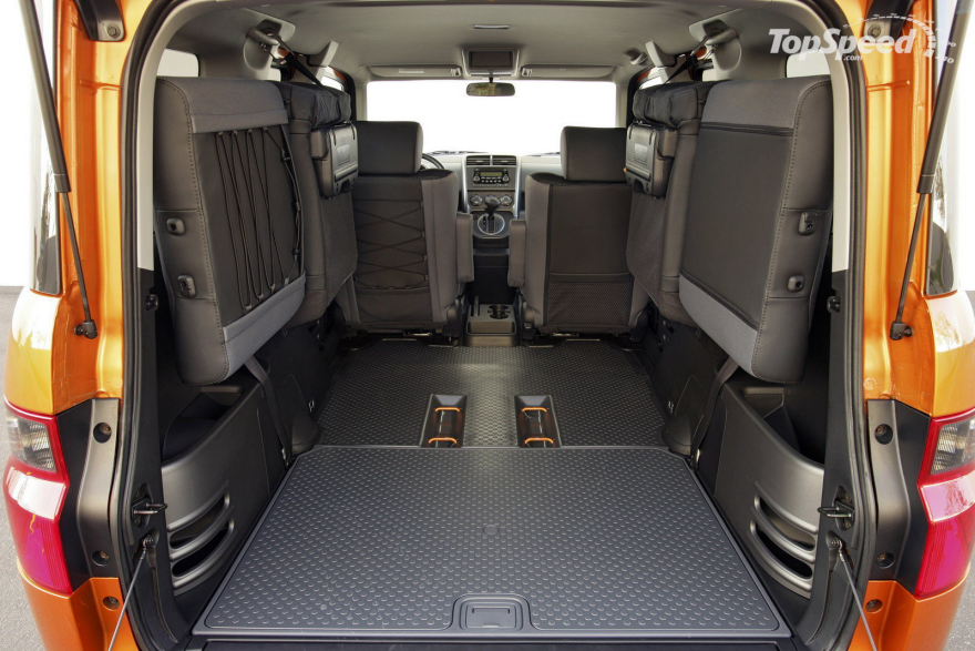 honda element interior configuration both rear seats folded up against the wall