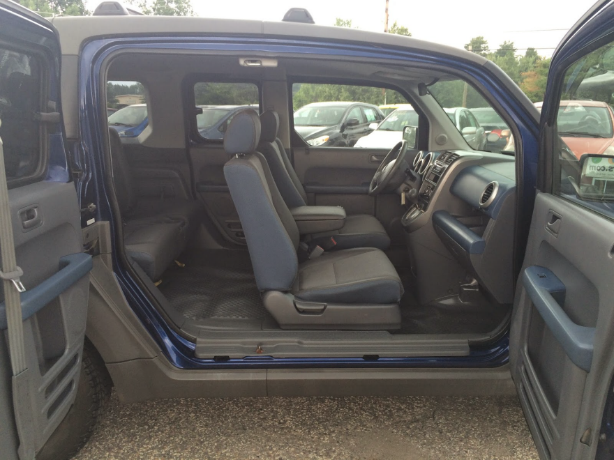 honda element interior configurations suicide door wide open