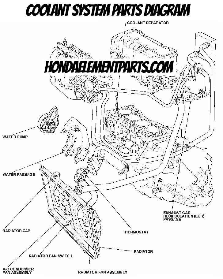 honda element coolant system parts diagram blowout thermostat radiator hose water pump location