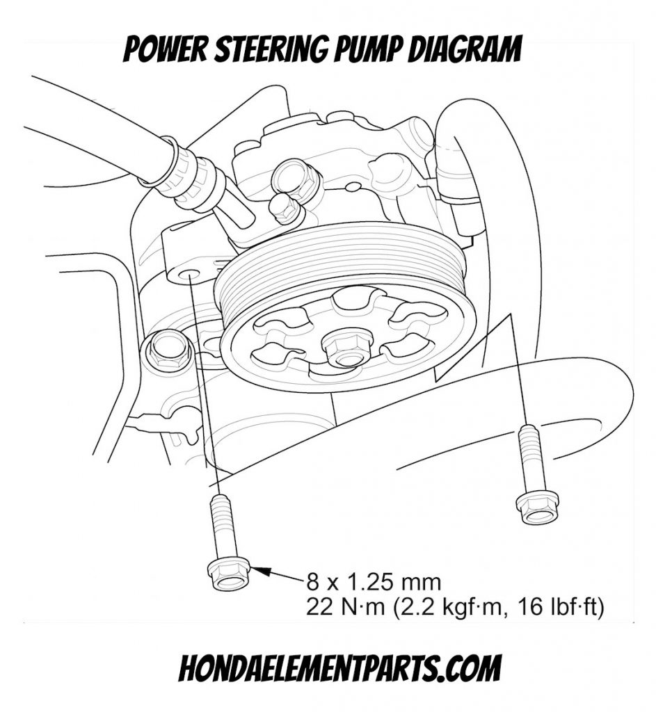 how to replace honda element power steering pump diagram