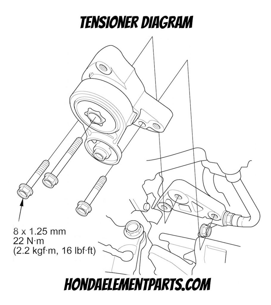 how to replace honda element serpentine belt tensioner diagram